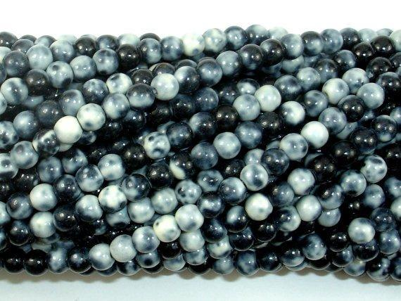 Rain Flower Stone Beads, Black, White, 4mm Round Beads-BeadXpert