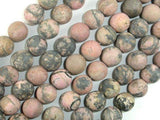 Matte Rhodonite Beads, 10mm, Round Beads-BeadXpert