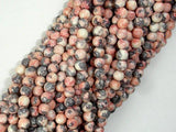 Rain Flower Stone, Pink, Gray, 4mm Round Beads-BeadXpert
