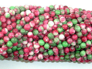 Rain Flower Stone, Red, Green, 4mm Round Beads-BeadXpert