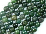 Moss Agate Beads, 10mm Faceted Round Beads-BeadXpert