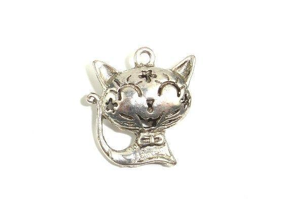 Metal Charms - Animal Kitty Pendant, Zinc Alloy, Antique Silver Tone, 2pcs-BeadXpert