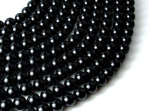 Black Tourmaline Beads, 8mm (8.5mm) Round Beads-BeadXpert