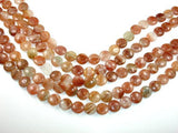 Red Line Quartz Beads, Coin, 12mm-BeadXpert