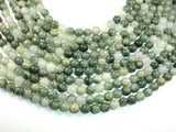 Green Line Quartz Beads, 8mm, Round-BeadXpert