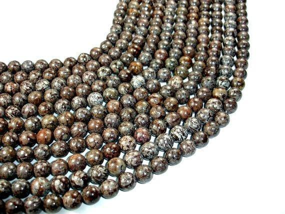 Brown Snowflake Obsidian Beads, Round, 10mm-BeadXpert