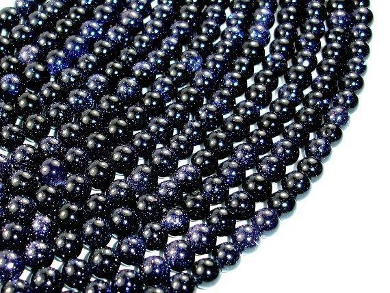 Blue Goldstone Beads, 6mm Round Beads-BeadXpert