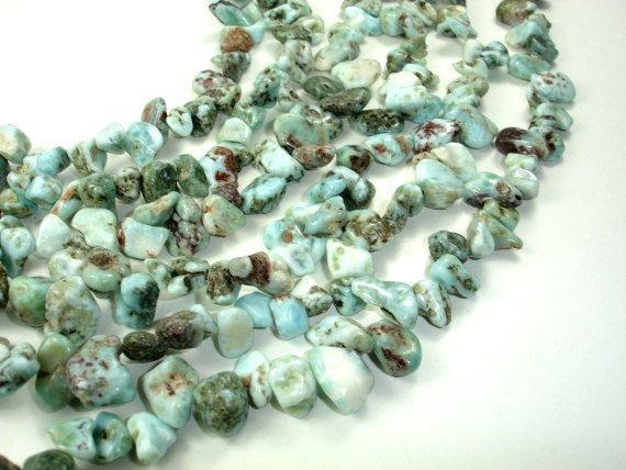 Larimar Beads, Top drilled, Free Form-BeadXpert
