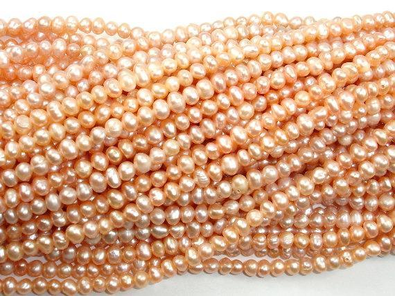 Fresh Water Pearl Beads, Peach, Potato, Approx 4-5mm-BeadXpert