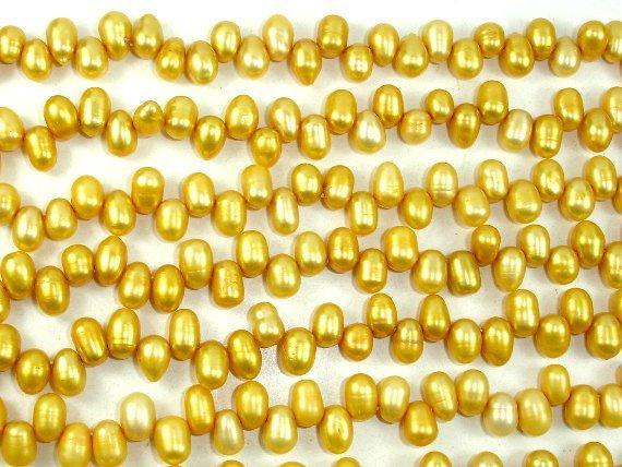 Fresh Water Pearl Beads, Gold, Top drilled, Dancing beads-BeadXpert