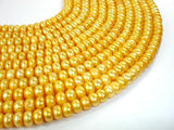 Fresh Water Pearl Beads, Gold, Button-BeadXpert