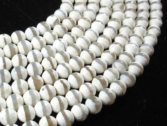 Tibetan Agate Beads,White, Faceted Round, 8mm-BeadXpert