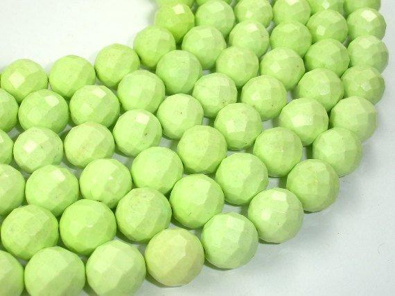 Green Howlite Turquoise Beads, Faceted Round, 12mm-BeadXpert