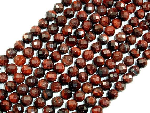 Red Tiger Eye, Faceted Round, 8mm Beads-BeadXpert