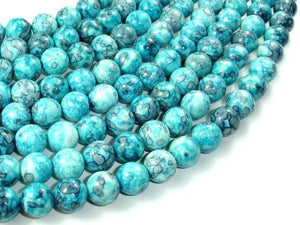 Rain Flower Stone Beads, Blue, 10mm Round Beads-BeadXpert