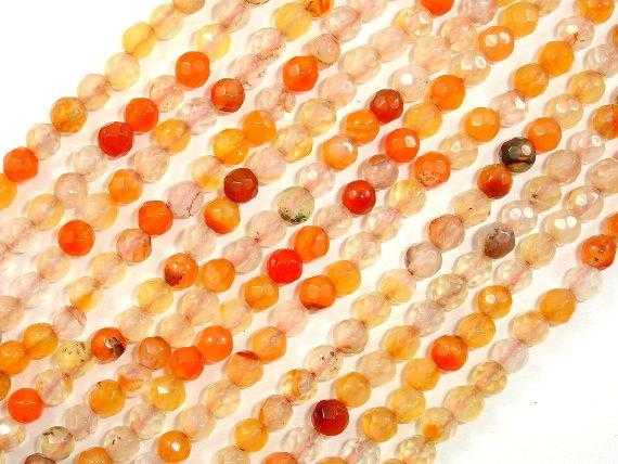Orange Agate Beads, 4mm Faceted Round-BeadXpert