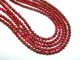 Mosaic Stone Beads, Red, 6mm Round Beads-BeadXpert