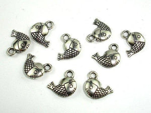 Fish Charms, Zinc Alloy, Antique Silver Tone 30pcs-BeadXpert