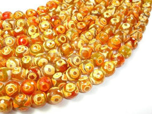 Tibetan Agate Beads, 12mm Faceted Round Beads-BeadXpert