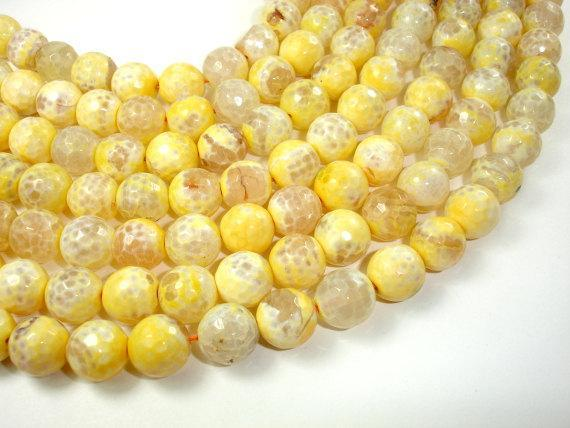 Yellow Agate Beads, 12mm (11.5 mm) Faceted Round, 14.5 Inch-BeadXpert