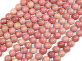 Rhodonite Beads, Round, 6mm (6.7mm)-BeadXpert