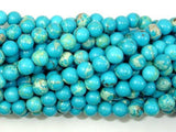Blue Impression Jasper, 6mm(6.5mm) Round Beads-BeadXpert