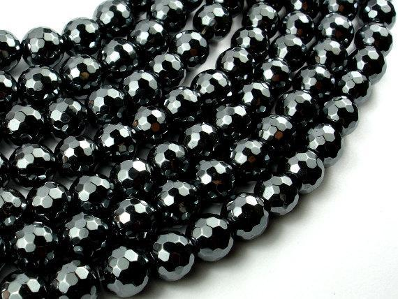 Hematite, 10mm Faceted Round Beads-BeadXpert