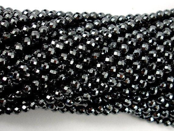 Hematite, 4mm Faceted Round Beads-BeadXpert
