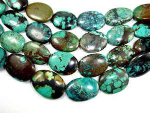 Genuine Turquoise, Oval Beads, 8 Inch Strand-BeadXpert