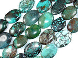 Genuine Turquoise, Oval Beads, 8 Inch, Half strand-BeadXpert