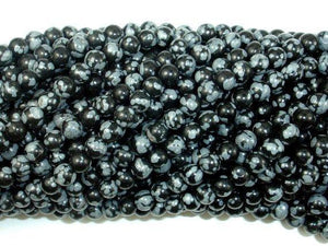 Snowflake Obsidian Beads, 4mm (4.6 mm) Round Beads-BeadXpert