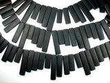 Matte Black Stone Beads, Top Drilled Rectangle-BeadXpert