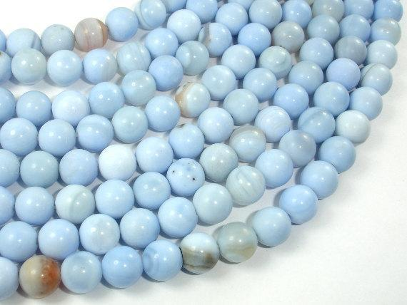 Light Blue Agate Beads, 8mm Round Beads-BeadXpert