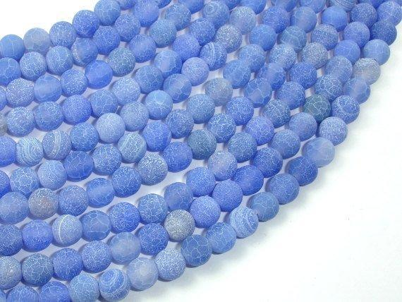 Frosted Matte Agate - Blue, 6mm Round Beads-BeadXpert