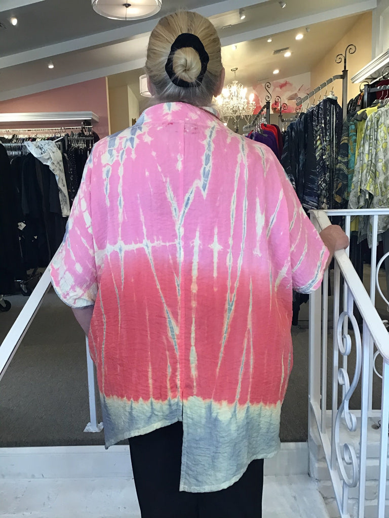 ASYMETRICAL TUNIC - HAND DYED - PINK, GERTIES / ELEVEN STITCH - ABUNDANCE PLUS SIZE