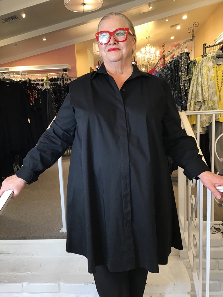 BACK ZIP LONG SHIRT - BLACK, COMFY USA - ABUNDANCE PLUS SIZE