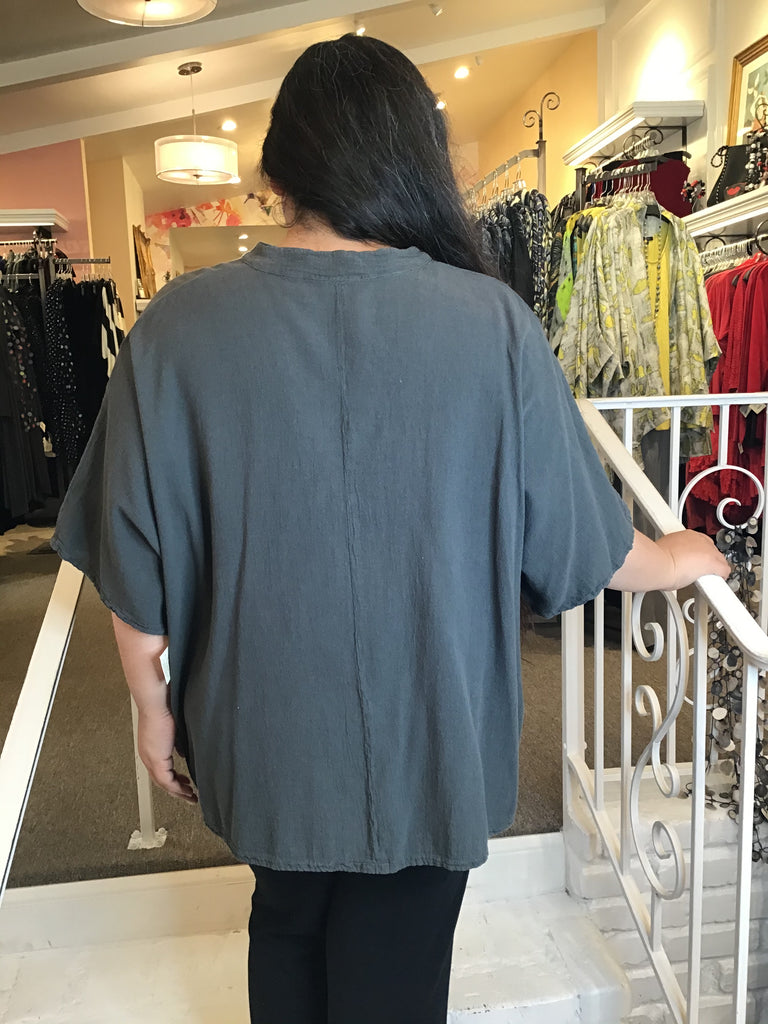 DIAGONAL BUTTON TOP, OH MY GAUZE - ABUNDANCE PLUS SIZE