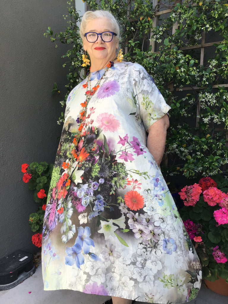 BEST LINEN DRESS - MIX FLORAL, YUVITA - ABUNDANCE PLUS SIZE