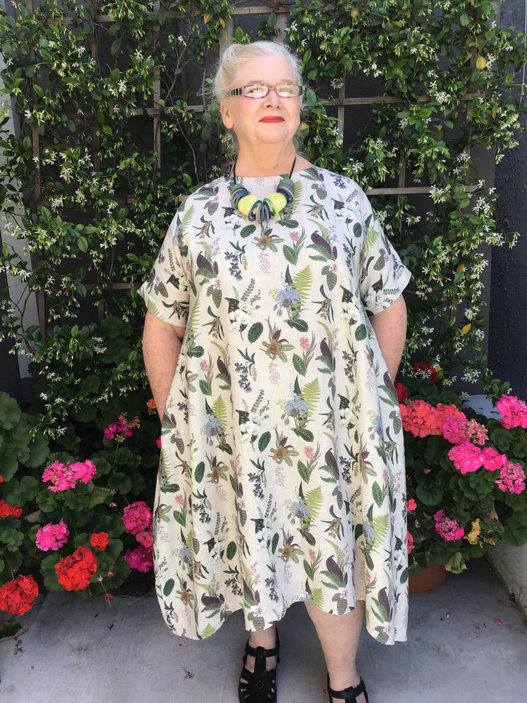 BEST LINEN DRESS - BOTANICAL, YUVITA - ABUNDANCE PLUS SIZE