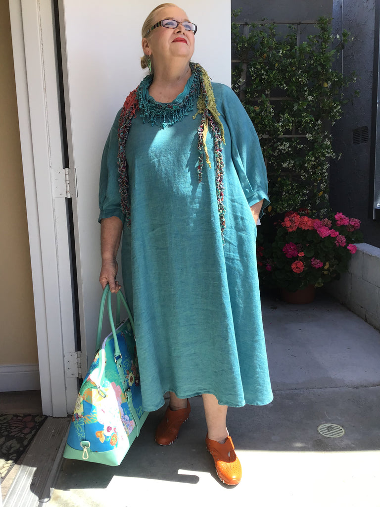 BIG SLEEVE LINEN DRESS- TURQUOISE, YUVITA - ABUNDANCE PLUS SIZE
