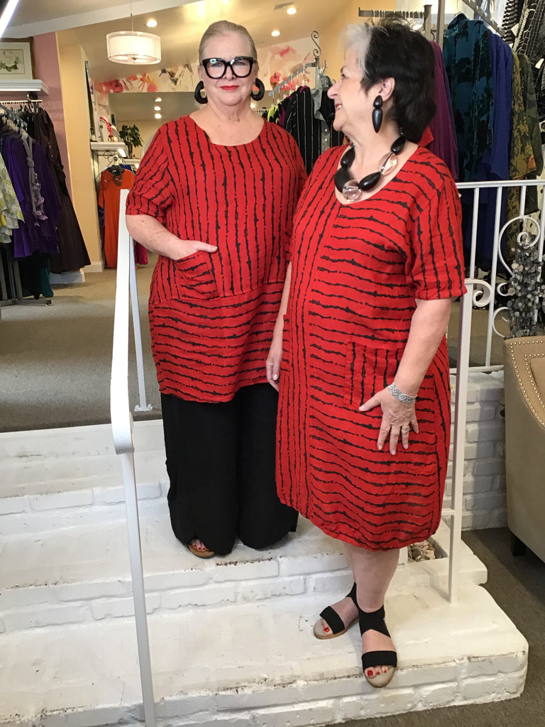 TUNIC - DRESS - RED LINES, ABUNDANCE - ABUNDANCE PLUS SIZE