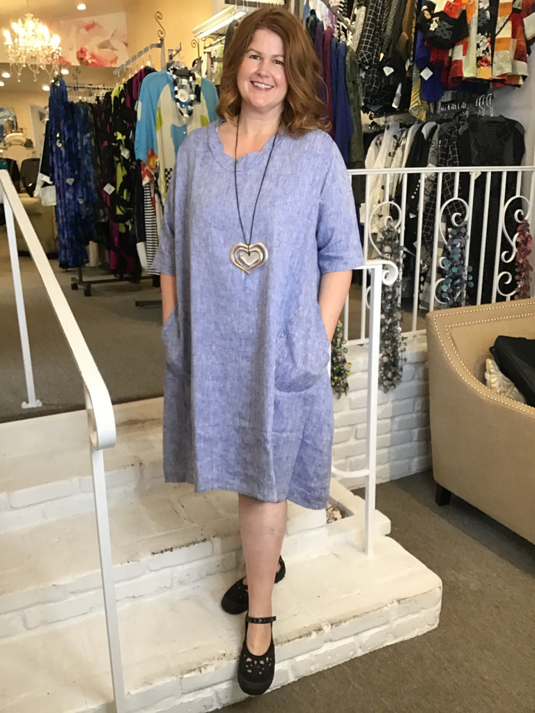 LINEN DRESS - BLUE, ABUNDANCE - ABUNDANCE PLUS SIZE