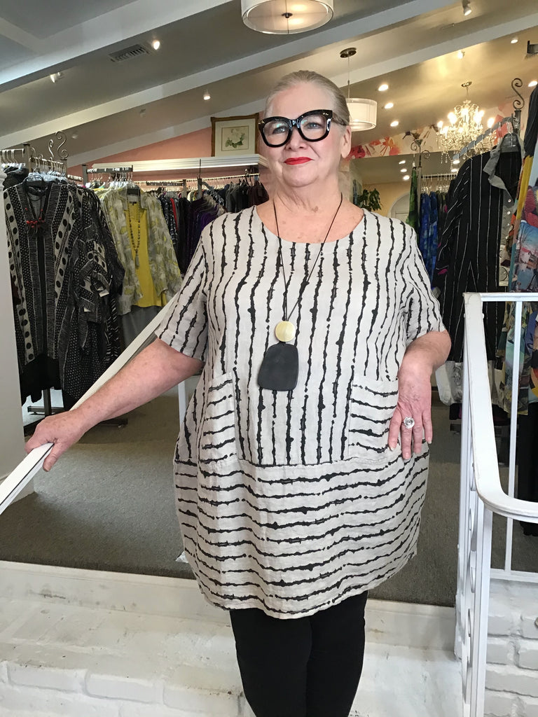 TUNIC - DRESS - BEIGE LINES, ABUNDANCE - ABUNDANCE PLUS SIZE