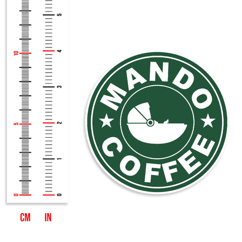 Mando Coffee Baby Yoda Vinyl Sticker