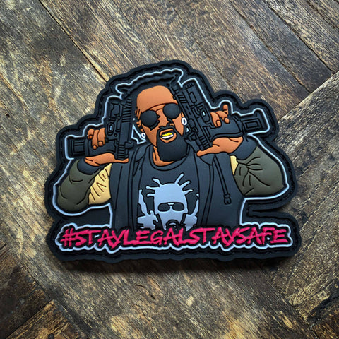 Black Rambo #staylegalstaysafe PVC Morale Patch - NEO Tactical and Black Rambo Collaboration