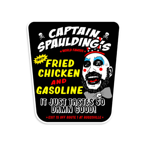 Captain Spaulding Fried Chicken And Gasoline Vinyl Sticker