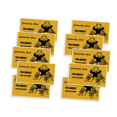 Community Chest You Inherit 3 NFA Tax Stamps Vinyl Sticker