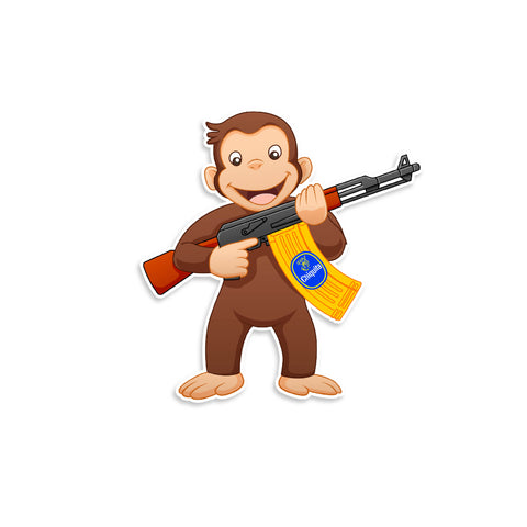 Curious George AK-47 Vinyl Sticker
