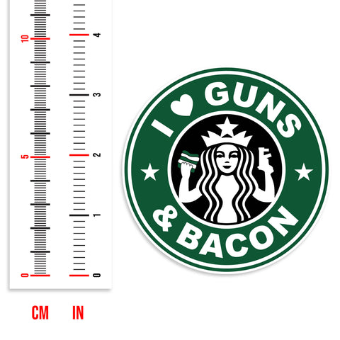 I Love Guns And Bacon Vinyl Sticker (Green)