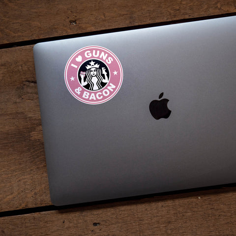 I Love Guns And Bacon Vinyl Sticker (Pink)